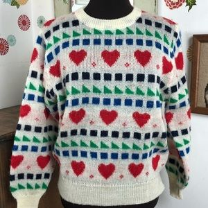 Vintage Hearts Sweater 80s Red Blue Green Preppy S